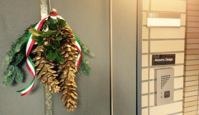 Anonimo Design 青山オフィスに飾られたクリスマスリース