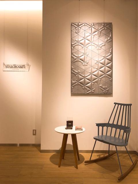 名古屋モザイク工業 studioart leatherwall レザーウォール展示 レザータイル展示